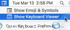 Mac show keyboard viewer