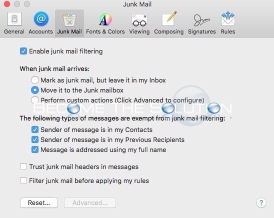 Mac Mail Mark as Junk Mail Greyed Out