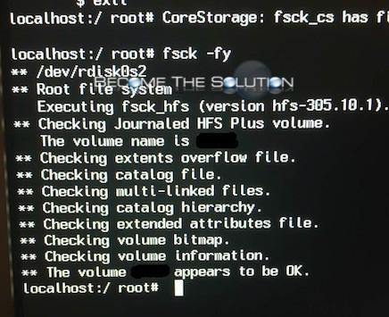 Repair Mac X Disk Command Line