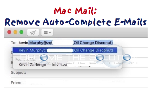 Mac Mail: Remove Autocomplete E-Mail Address