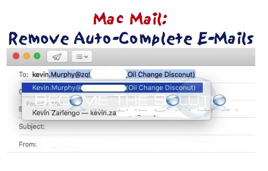 Mac Mail: Remove Autocomplete E-Mail Address