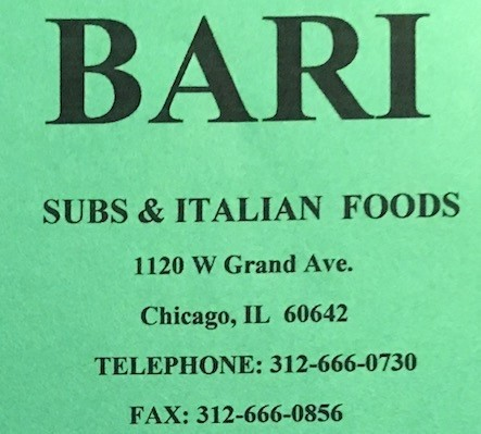 Bari Carry Out Menu Chicago (Scanned Menu With Prices)