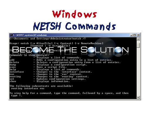 Useful 'Netsh' Commands In Windows