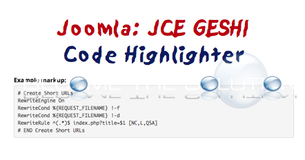 How To: JCE Joomla Code Syntax Highlighter GESHI