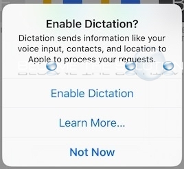 iPhone Remove Annoying Enable Dictation Prompt Keyboard Typing