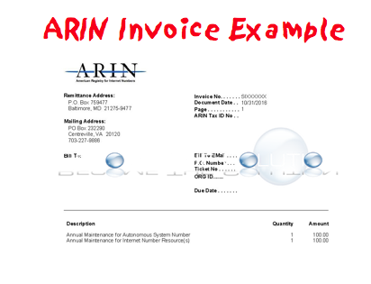 Sample ARIN Invoice Example – American Registry for Internet Numbers
