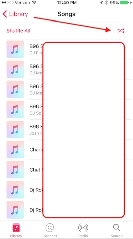iPhone Shuffle All Songs