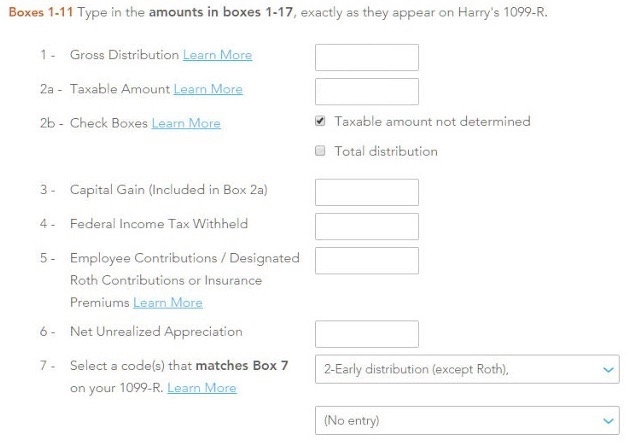 Turbo Tax 1099-R Boxes Form