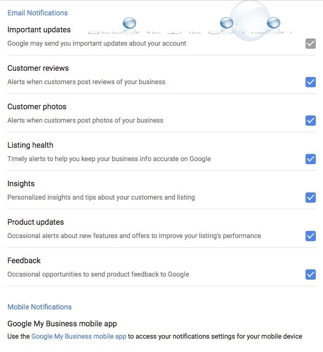 Google business email notification settings