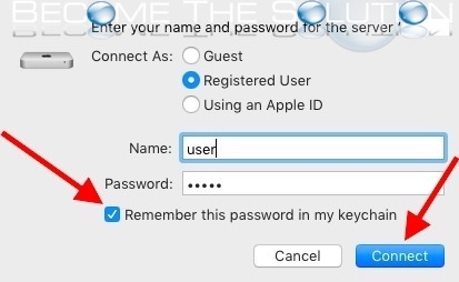 Mac x username password remember afp smb