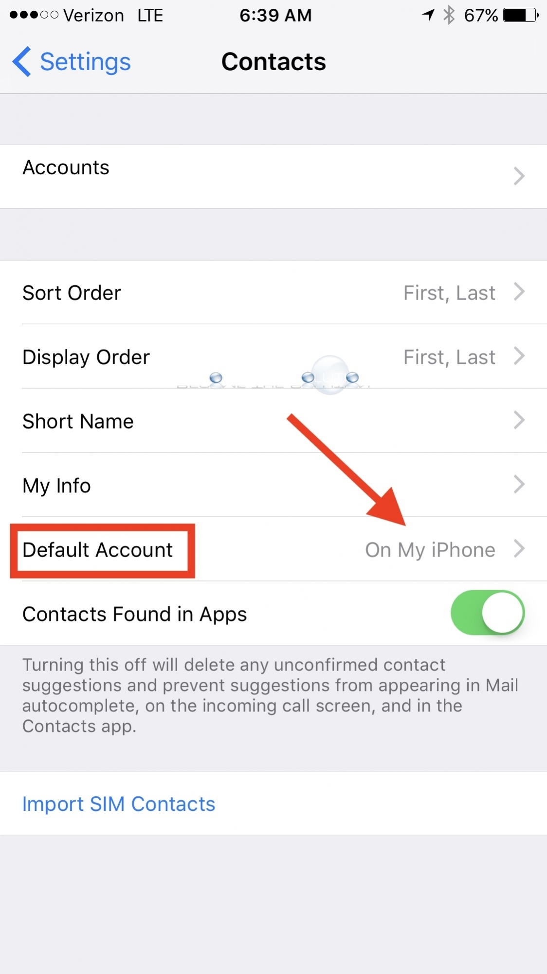 iPhone settings default account