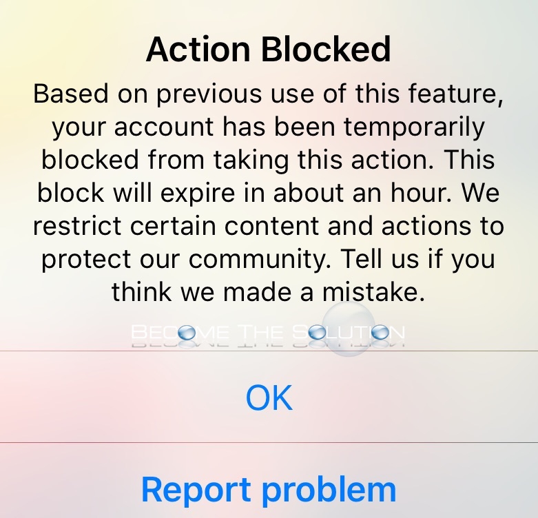 Madison : Instagram action blocked stories