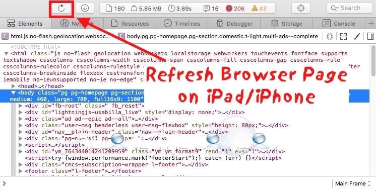 iPhone ipad 새로 고침 디버그 사파리