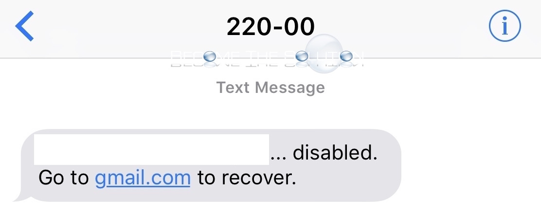 Gmail suspended disabled text message