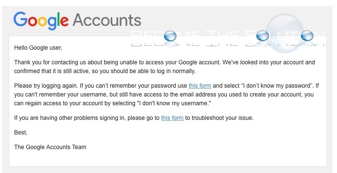 Google gmail accounts email response