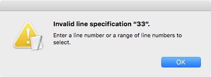 Mac text edit invalid line specification