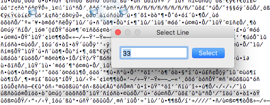 Mac textedit find line command + l