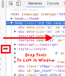 Google Chrome developer tools drag over