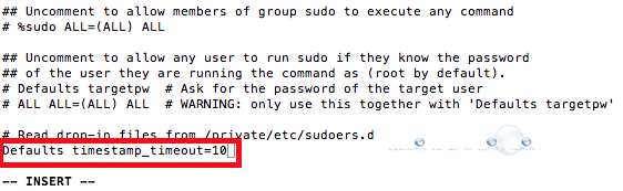 Mac terminal sudo timeout sudoers file
