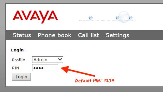 Avaya B179 Default Admin Password