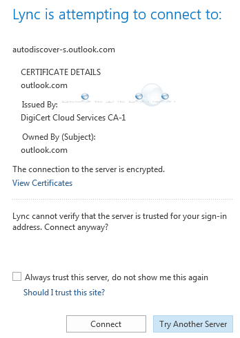 Fix: Lync is Attempting to Connect to Autodiscover-s-Outlook com