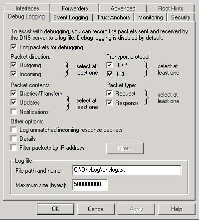 DNS Log size