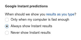 google instant predictions settings