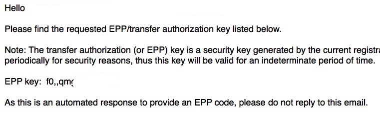Transfer Domain Name Get EPP Code