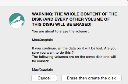 usb warning erase mac x captain
